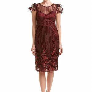 NWT Taylor Foliage Embroidered Illusion Dress